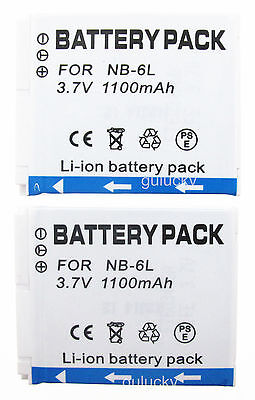 2xBattery for Canon PowerShot D10 D20 SD1200IS SD1300IS Digital Camera NB-6L