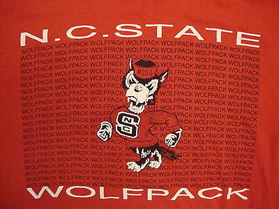 Vintage NCAA NC State Wolfpack North Carolina College Soft Thin Red T Shirt L