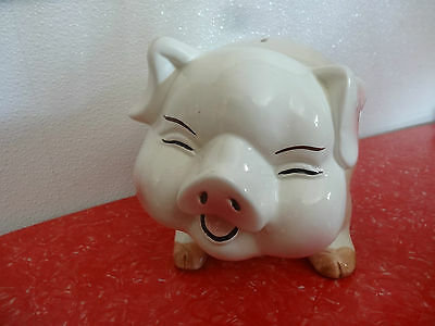 VINTAGE PIGGY BANK Big Fat Pig white with pink trim Large Size Baby Room Decor