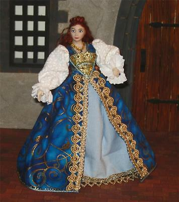 12th scale Tudor new HANDMADE blue costume dolls house castle queen princess
