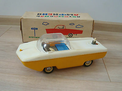 Vintage 70's USSR Soviet Large Amphibian Battery Operated Car Toy + Box