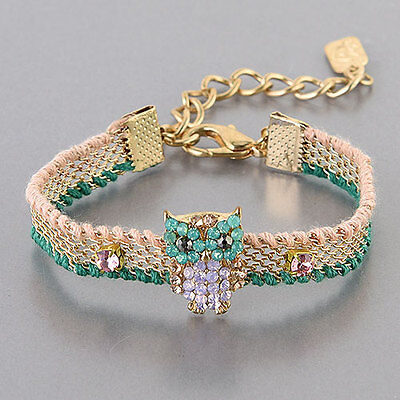 Gold Mint Green Pink Stone Simple Owl Design Adjustable Bracelet