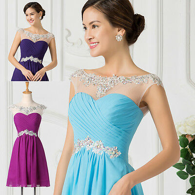 CHEAP Short/Mini Beaded Sexy Womens Bridesmaid Evening Party Gowns Prom Dresses