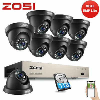 ZOSI 8CH 720P TVI DVR 1500TVL White Dome Outdoor CCTV Security Camera System 1TB