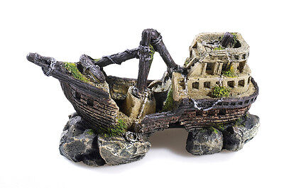 Galleon Shipwreck on Rocks Aquarium Ornament Fish Tank Boat Wreck Decoration