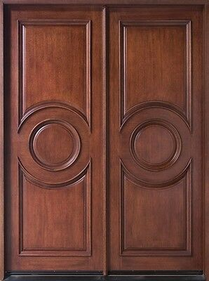 Solid Mahogany Wood Entry Door Double Prehung Dark Mahogany Finish 875N DD