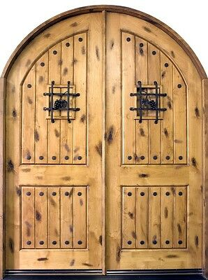 Solid Knotty Alder Wood Entry Door Double Prehung Light Alder Finish 801 DD