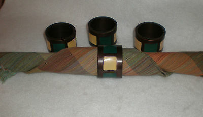 Set of (4) Heavy Metal Decorative Napkin Rings with Enamel Inlays yellow/green