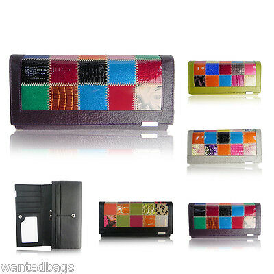 Ladies Designer Real Leather Patchwork Patch Long Fold Purse Wallet Card Holder