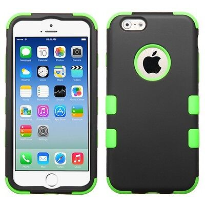 for APPLE iphone 6 GREEN BLACK TUFF ACCESSORY SKIN COVER CASE+ SCREEN FILM