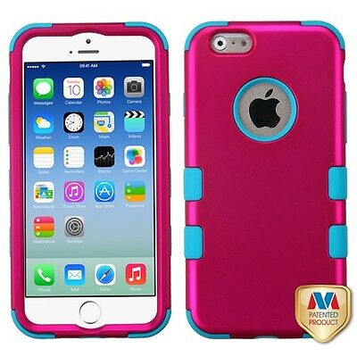 for APPLE iphone 6 PINK BLUE TUFF ACCESSORY SKIN COVER CASE+ SCREEN FILM