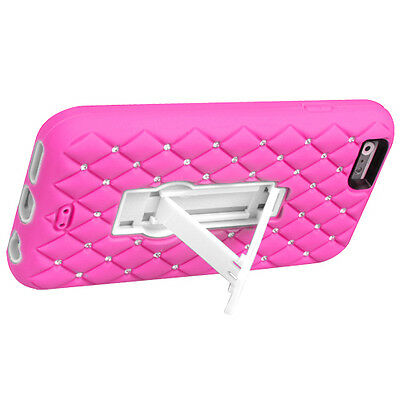 NEW for APPLE iPhone 6 PINK WHITE DIAMOND STAND COVER CASE + SCREEN PROTECTOR