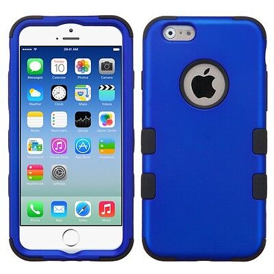 for APPLE iphone 6 BLUE BLACK TUFF ACCESSORY SKIN COVER CASE+ SCREEN FILM
