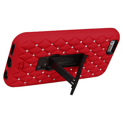 NEW for APPLE iPhone 6 BLACK RED DIAMOND STAND COVER CASE + SCREEN PROTECTOR