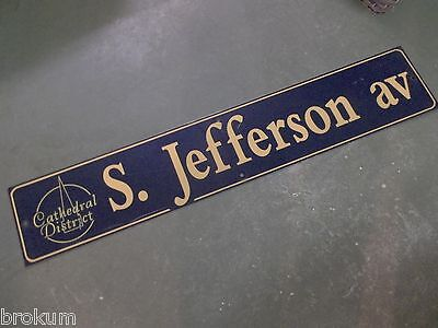 "Vintage S. JEFFERSON av Cathedral District Street Sign 48"" X 9"" -GOLD on NAVY"