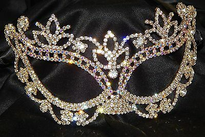 Gold with AB Rhinestone Crystal Masquerade Mask Mardi Gras Party W. Black Ribbon