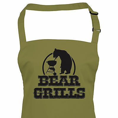 Bear Grills Funny BBQ Apron - Fathers Day Gift For Dad