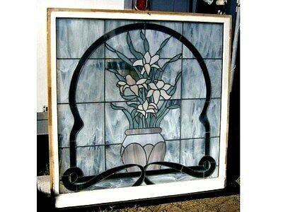 "VINTAGE  - ( LEADED STAINED GLASS WINDOW ) - ARCHITECTURAL SALVAGE ( 48"" x 48"" )"