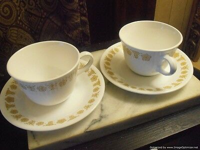 Corelle Corning Butterfly Gold Mugs Cups and Saucer Set of 2 Made In The USA
