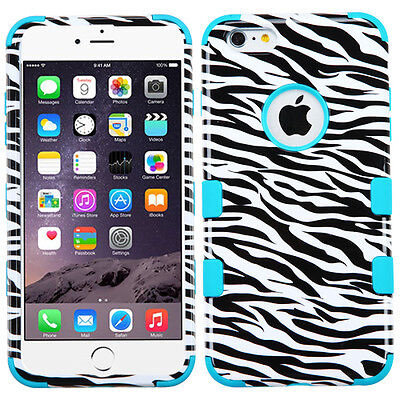 "NEW for APPLE iPhone 6 PLUS 5.5"" TEAL WHITE ZEBRA TUFF SKIN ACCESSORY COVER CASE"