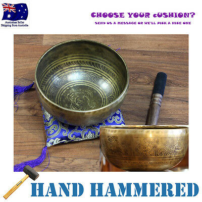 Traditional Tibetan Singing Bowl Hand Hammered Engraved 20cm, *Cushion & Stick*