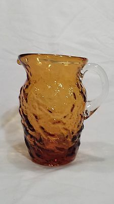 Vintage AMBER Glass Miniature PITCHER Creamer Milano Lido Honey Gold DOLL TOY