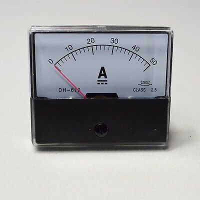 Analog Amp  Panel Meter Current Ammeter Dc 0-50A