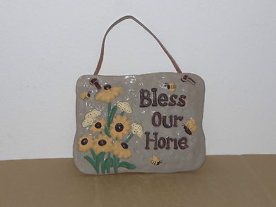 Ceramic Wall Door Plaque ~ Bless Our Home ~ Flower Bee Display
