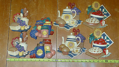 Home Interiors & Gifts Retro Kitchen Country 8 Wall Plaques USA 1997