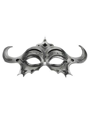 Silver Gladiator or Viking Style Masquerade Eye Mask with Horns