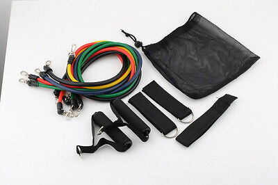11pcs Latex Resistance Bands Tubes GYM Exercise Set for Yoga ABS Workout Fitness