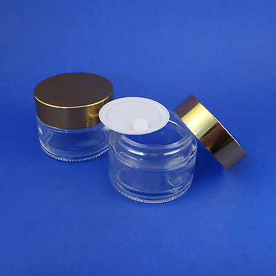1/4/5/6-Clear Glass Makeup Cream Jar Travel Container Aluminum Lid 30ml #AY200