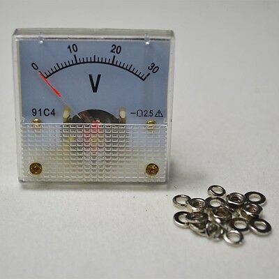 0-30V DC 91C4 ANALOG VOLT VOLTAGE Panel Meter Voltmeter 30V