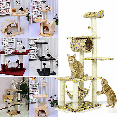 Pet Dog Cat Climbing Tree Scratching Post Condo Scratch Poles Safe Bed Gym UK