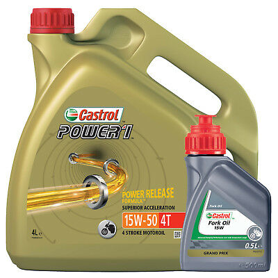 Castrol Power 1 4T 15W-50 Part Syn - 4L + Castrol 15w Fork Oil Mineral 500ml