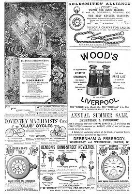Victorian Adverts; Floriline Toothpaste, Wood's Binoculars - Antique Print 1887