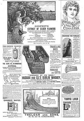 Victorian Adverts; Turkish Carpets, Godfrey's Elder Flowers - Antique Print 1887