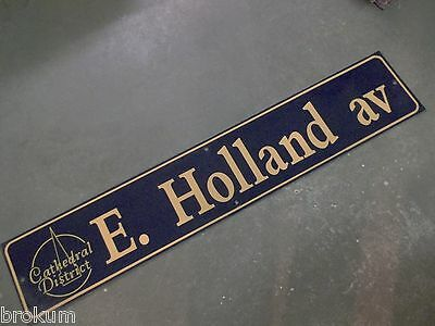"Vintage E. HOLLAND av Cathedral District Street Sign 48"" X 9"" -GOLD on NAVY"