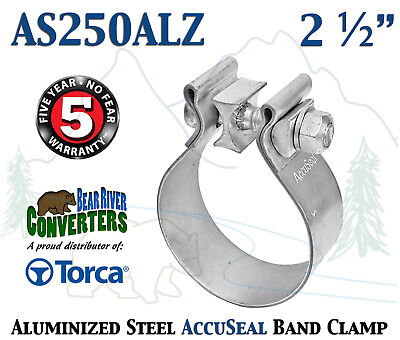 """2.5"""" 2 1/2"""" Genuine Torca AccuSeal Aluminized Steel Band Exhaust Clamp AS250ALZ"""
