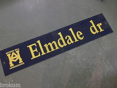 "Vintage ARTHUR HILL / ELMDALE dr STREET SIGN 42"" X 9"" GOLD LETTERING ON BLUE"