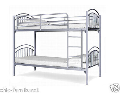 New!! Yorkshire Metal Bunk Bed With 2 Mattresses* FREE P&P