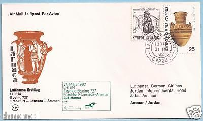 CYPRUS 1982 31st MARCH LUFTHANSA FIRST FLIGHT COVER FFC LARNACA TO AMMAN-JORDAN