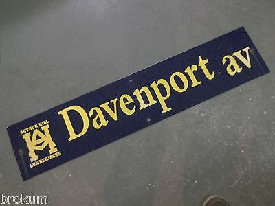 "Vintage ARTHUR HILL / DAVENPORT av STREET SIGN 42"" X 9"" GOLD LETTERING ON BLUE"