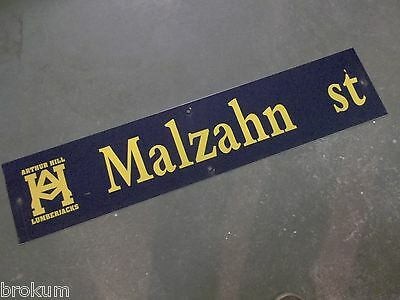 "Vintage ARTHUR HILL / MALZAHN st STREET SIGN 42"" X 9"" GOLD LETTERING ON BLUE"