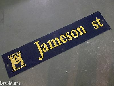 "Vintage ARTHUR HILL / JAMESON st STREET SIGN 42"" X 9"" GOLD LETTERING ON BLUE"