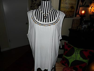 NWT Style&Co. Ladies Embellished Scoop Neck Tank Cotton Plus Size 3X
