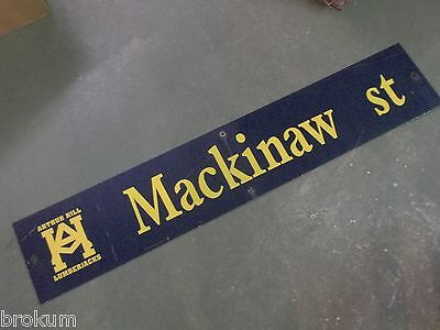 "Vintage MACKINAW st ARTHUR HILL LUMBERJACKS Sign 48"" X 9"" -GOLD on NAVY Ground"