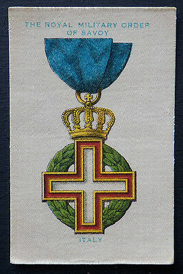 THE ROYAL MILITARY ORDER OF SAVOY ITALY War Medals 1911 Wills Aust SILK