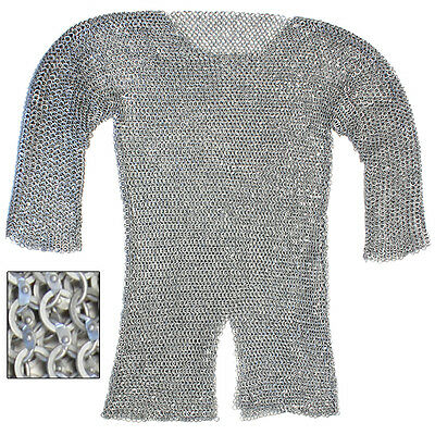 Medieval Costume Stage Theater Re-enactment Aluminum Hauberk Chainmail Large