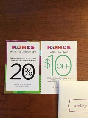 Set of 2 Kohl's Coupons Bundle. 20% Off And Save $10 Off.
